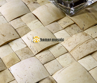 3D convex white beige color natural coconut shell mosaic tiles on mesh 30x30cm wall decor wall mosaic tiles