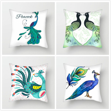 Fuwatacchi Peacock Animals Cushion Cover Multi-Color Peahen Throw Pillow for Home Sofa Chair Decorative Pillows 45*45cm