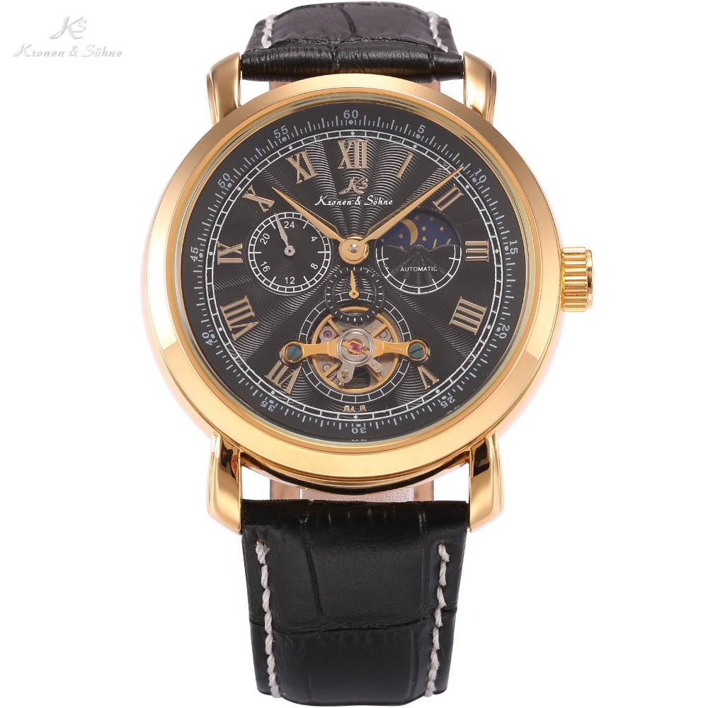 KS Brand Navigator Sun Moon Display Automatic Mechanical Self Wind Tourbillion Black Dial Black Leather Strap
