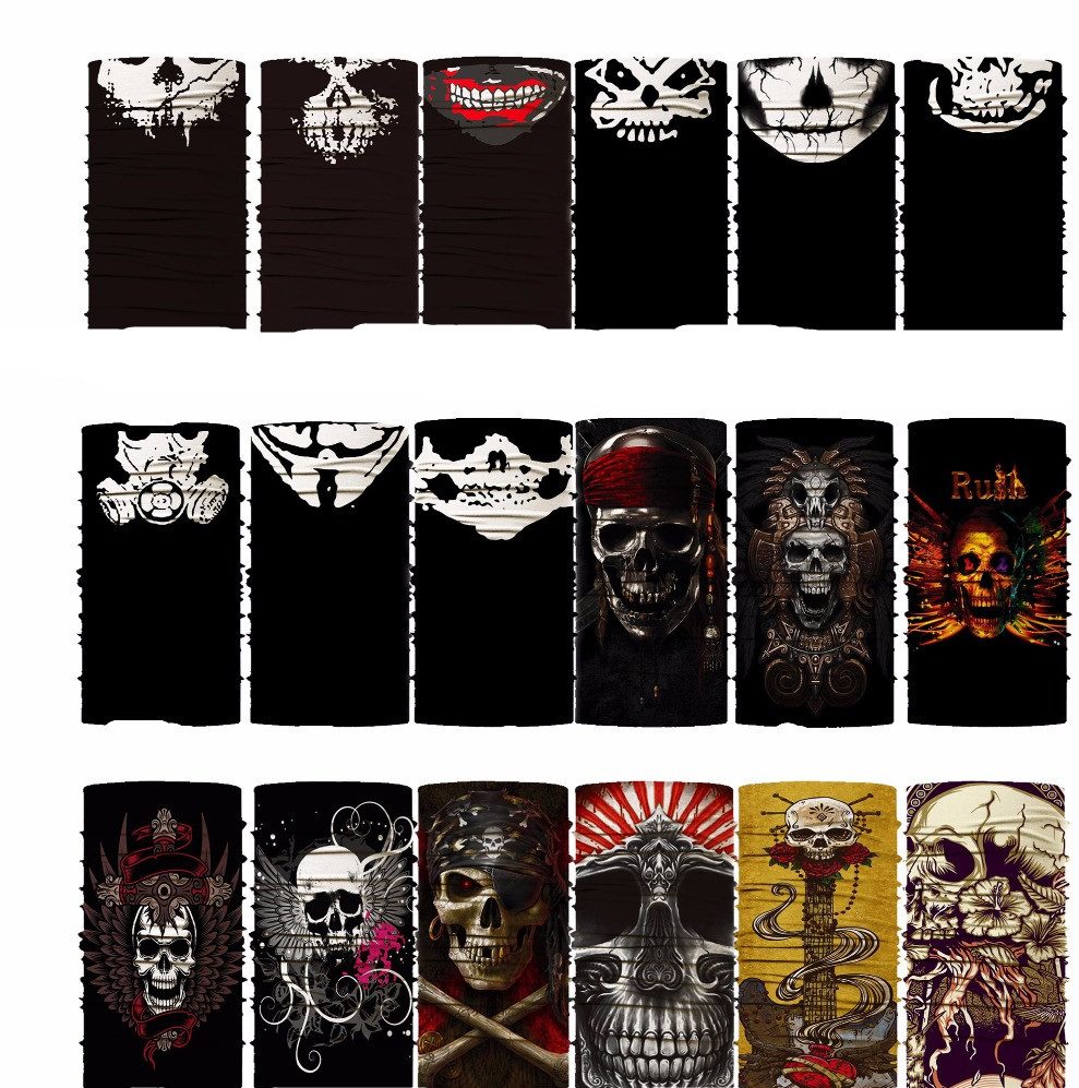 Pirate Skull Bandana Biker Hip Hop Hijab Multifunctional Seamless Variety Turban Hood Magic Headband Veil Head Scarves Face Mes