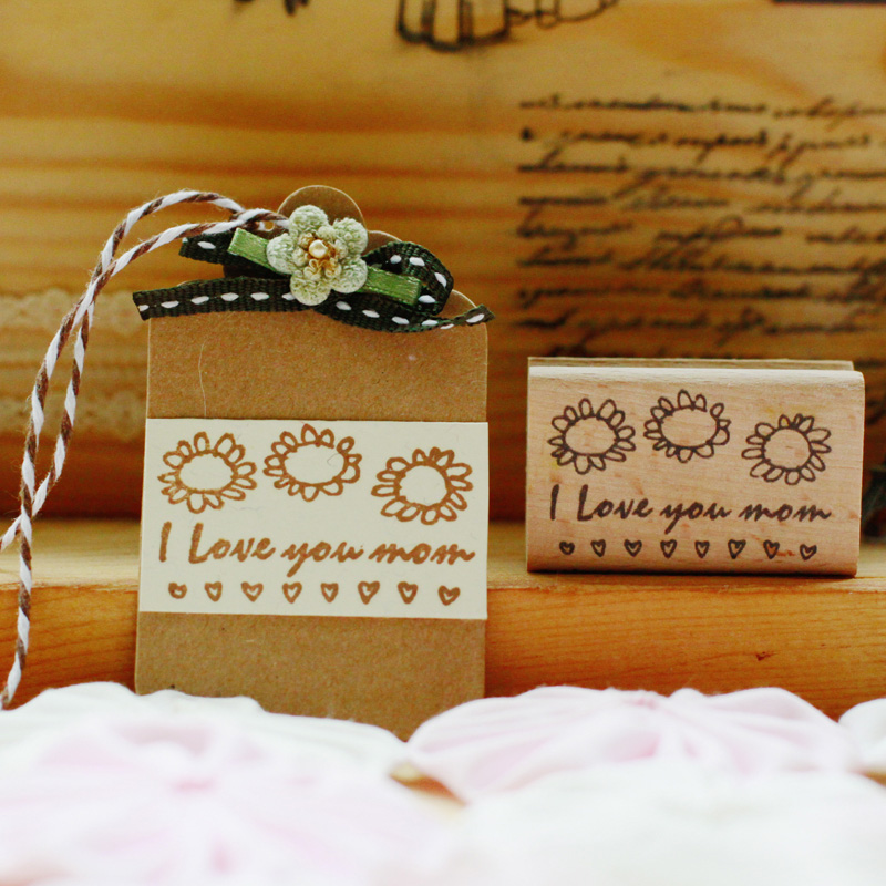 High quality i love you mom 5*3cm rubber stamp, scrapbooking wooden stamps carimbos For card diy stempel i found you