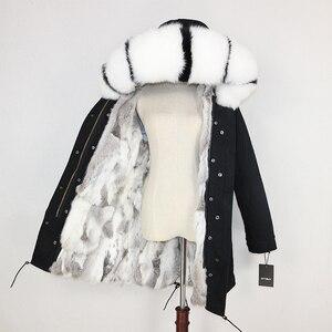 Image 2 - OFTBUY 2020 חורף מעיל נשים אמיתי פרווה מעיל ארוך Parka טבעי דביבון פרווה צווארון ארנב פרווה אניה עבה חם Streetwear חדש