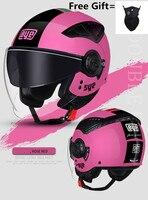 Otomobiller ve Motosikletler'ten Kasklar'de Pembe kadın yeni motosiklet kask emniyet kaskı yarış Motocross kask çift lens erkekler kask DOT ECE onaylı
