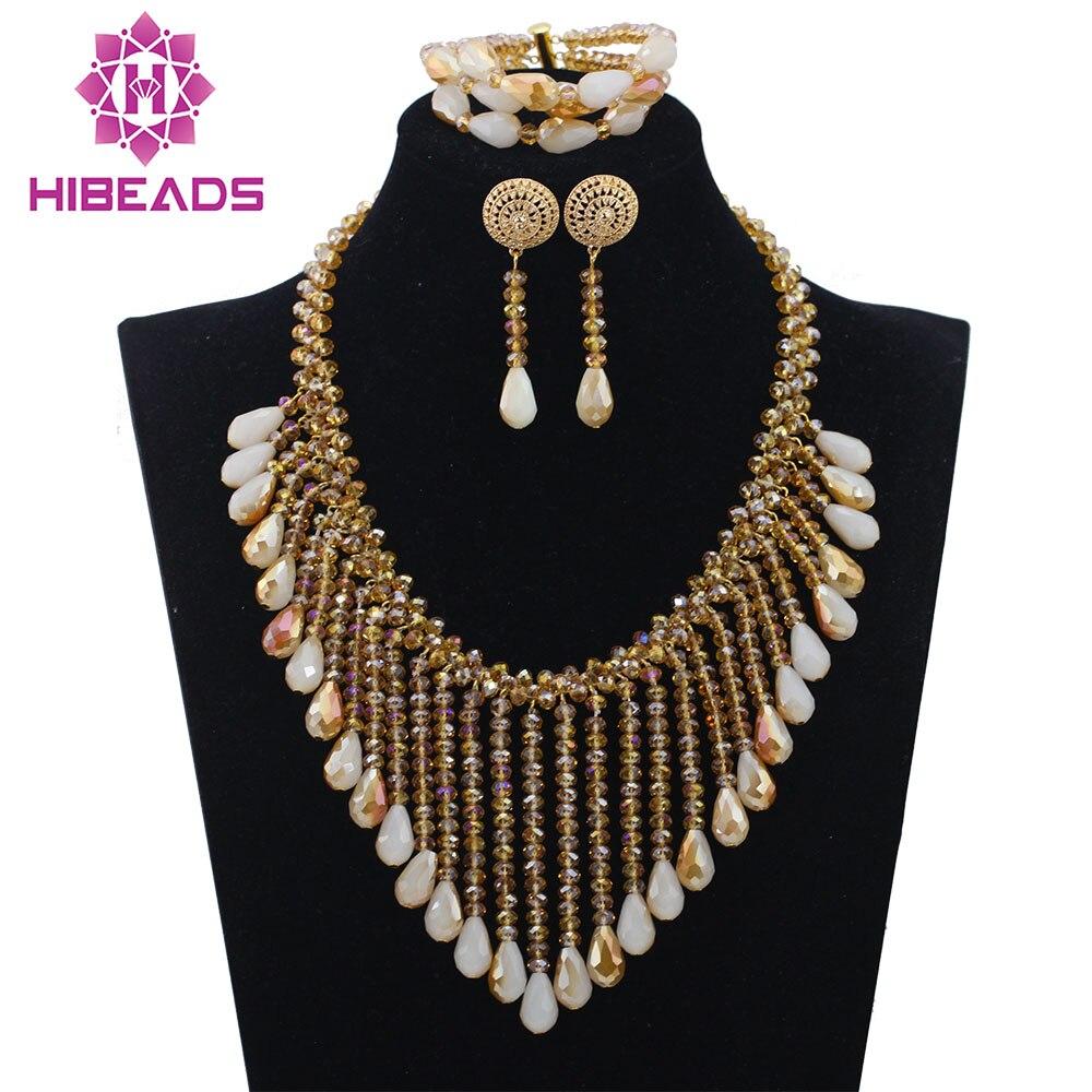 Incroyable Champagne or mariage bavoir déclaration collier ensemble Dubai or mariée cadeau bijoux ensemble nouveau livraison gratuite QW978