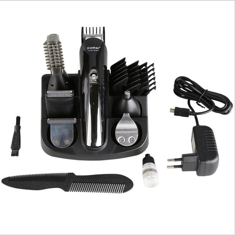 KM-600 Kemei Professional Hair Trimmer 6 In 1 Hair Clipper Shaver Full Set Electric Shaver Beard Trimmer Hair Cutting Machine