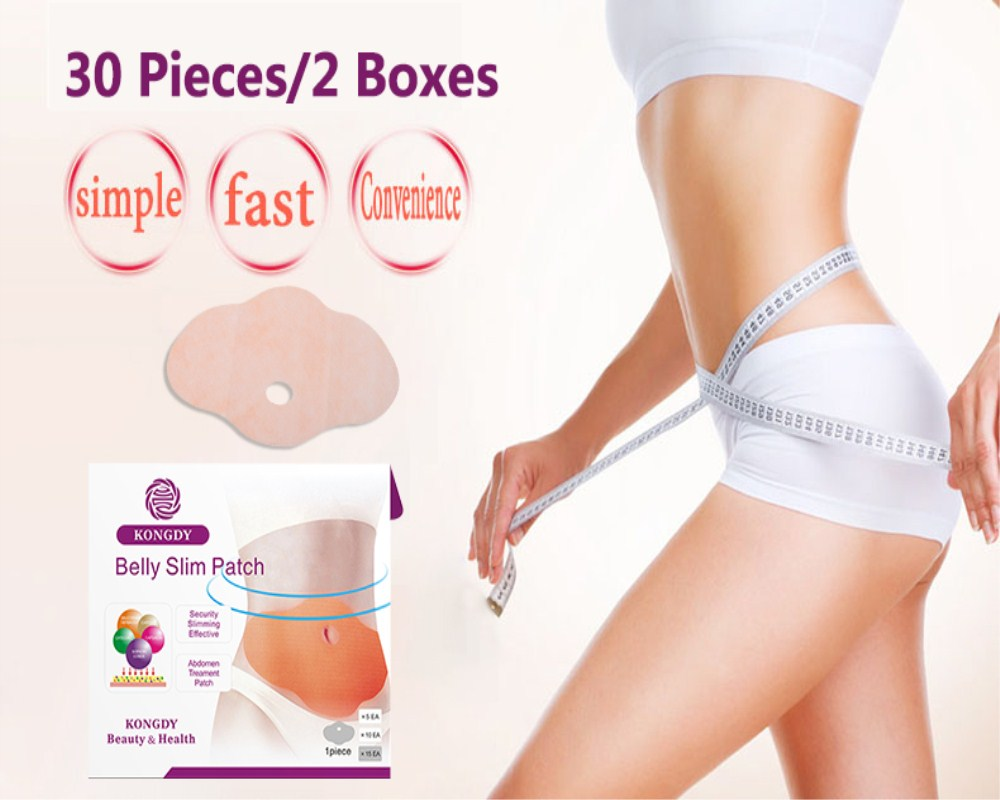 KONGDY 30 Peças = 2 Caixas Ingredientes Naturais de Emagrecimento Perda de Peso Queima de Gordura Remendo Adesivo Umbigo Mulheres/Homens Saúde almofadas cuidados