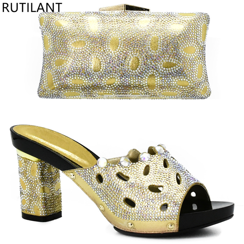 Set Afrikanische Nigerian purpurrot Blau Passende Und fuchsia Gold Mit rot Strass königliches Gold Taschen Italienischen Farbe Schuhe Verziert grün silber Sqw5Z580