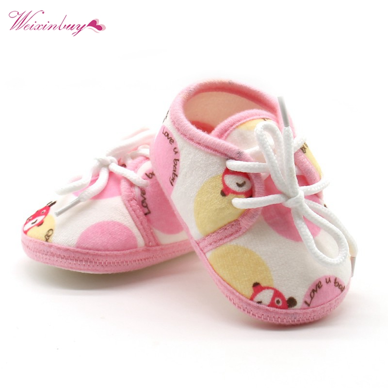 Baby Shoes Infant Cotton Printed Lace-up Casual First Walkers Baby Soft Bottom Leisure Outdoor Shoes