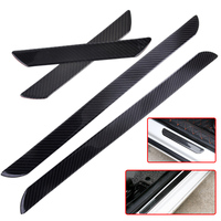 2Pcs Car Sticker Carbon Fiber Door Step Sill Anti Scratch Cover Scuff Plates Protect Trim Guard Fit For VW Audi Amg Ford Hyundai
