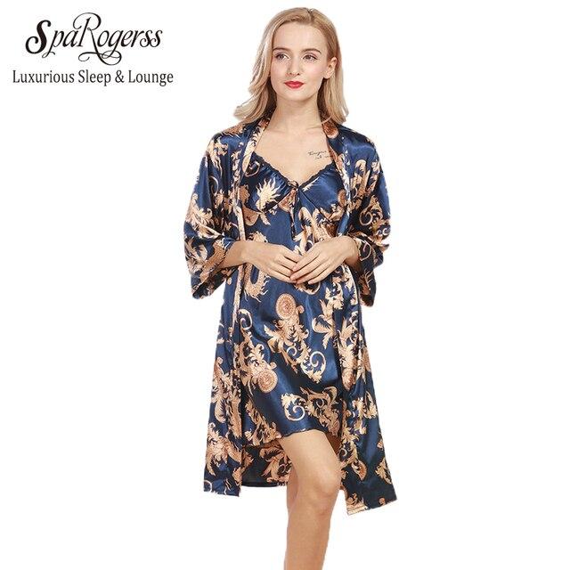 SpaRogerss New Women Robe Gown Set 2017 Faux Silk Luxurious Ladies Summer Bath 2 Pcs Robe Chemise Set Female Lounge Suit WP322