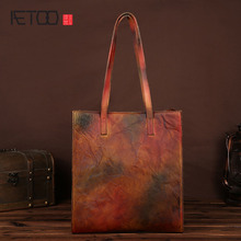 AETOO  The new retro leather handbag handbag large-capacity hand-rubbed the first layer of leather shopping bag