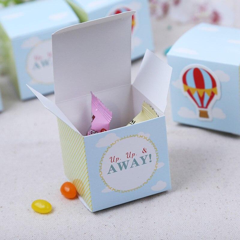 100 יחידות שקיות ממתקים לטובת מקלחת תינוק קופסא נייר בלון אוויר חם אספקת חתונה נישואים לחגוג מסיבת יום ההולדת ומתנות תיבות