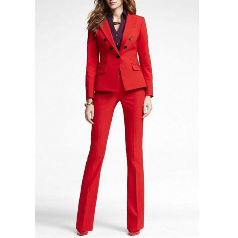 Customized New Red Fashion Women s Pant Suit Two Piece Suit Jacket Pants Ladies Double Breasted