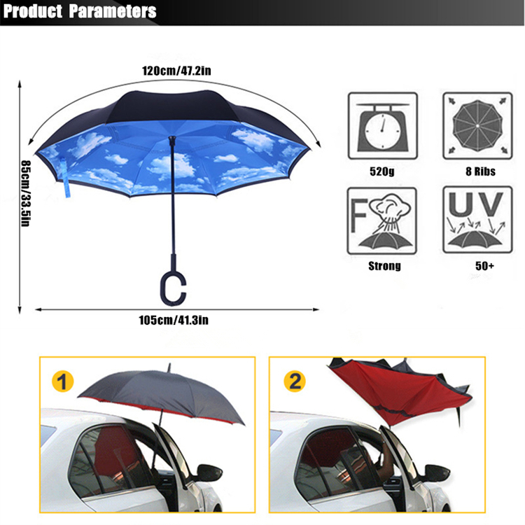 2017 new arrival creative C-Hook handle reverse folding double layer  windproof rainy sunny umbrella fishing car cane gift women - us612 55e6f46af6
