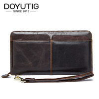 DOYUTIG Dress Style Men Genuine Leather Clutch Bag For Business Male Brown Big Money Purse & Card Bags Antique Day Clutches B038