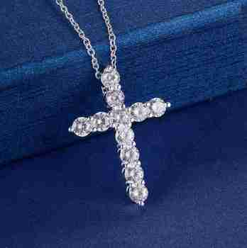 silver color  necklace jewelry women wedding fashion Cross CZ crystal Zircon stone pendant necklace  Christmas gift n296 2