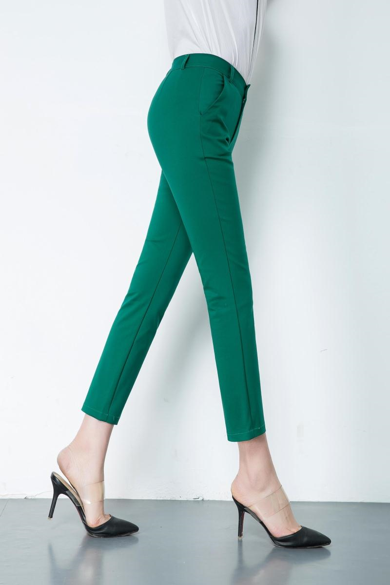 Casual Trousers Women 95% Cotton Elastic Slim Skinny Pants femal Spring Street Wear Pencil Pants Ladys Elegant Office Work Pant 6
