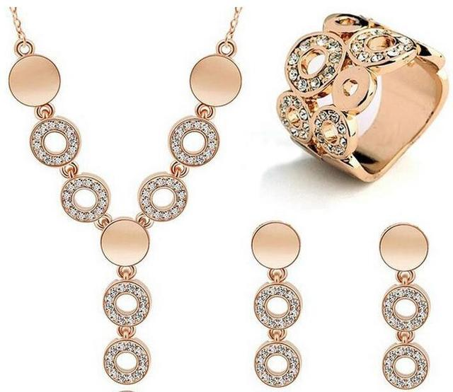 Silver/Golden Plated 3Pcs Jewelrys Sets Lovely Circle Design Choker Tassel Necklace Earrings Ring Sets For Women Wedding Gifts