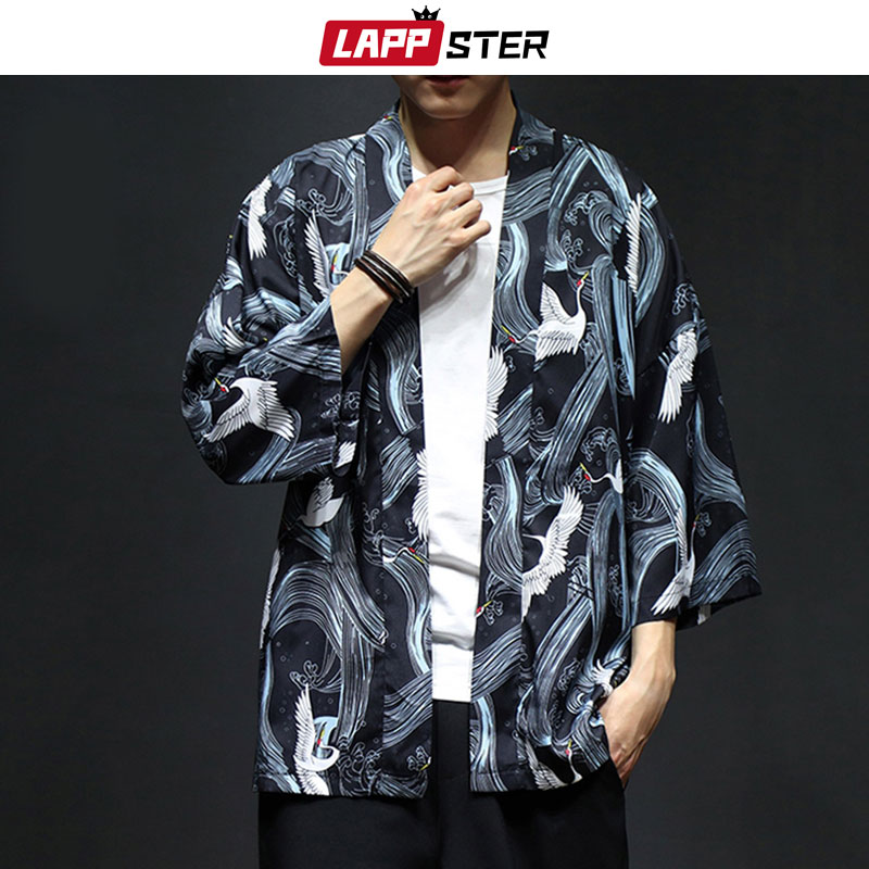 LAPPSTER Men Streetwear Kimono Jacket 2019 Mens Funny Print Colorful Japanese Kimono Coat Male Loose Summer Cardigan Plus Size-in Jackets from Men's Clothing on AliExpress - 11.11_Double 11_Singles' Day 1