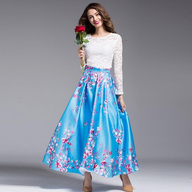 Dulce Twinset 2017 de La Moda Diaria de Encaje Blanco de Manga Larga Tops + Swing Grande Flores Blue Print Falda Conjunto de Las Mujeres