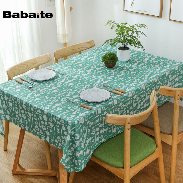 Babaite Green Korean Pastoral Tableware Icons Tablecloth Cotton Linen Waterproof Dinner Table Cloth Decoration Washable & Babaite Green Korean Pastoral Tableware Icons Tablecloth Cotton ...
