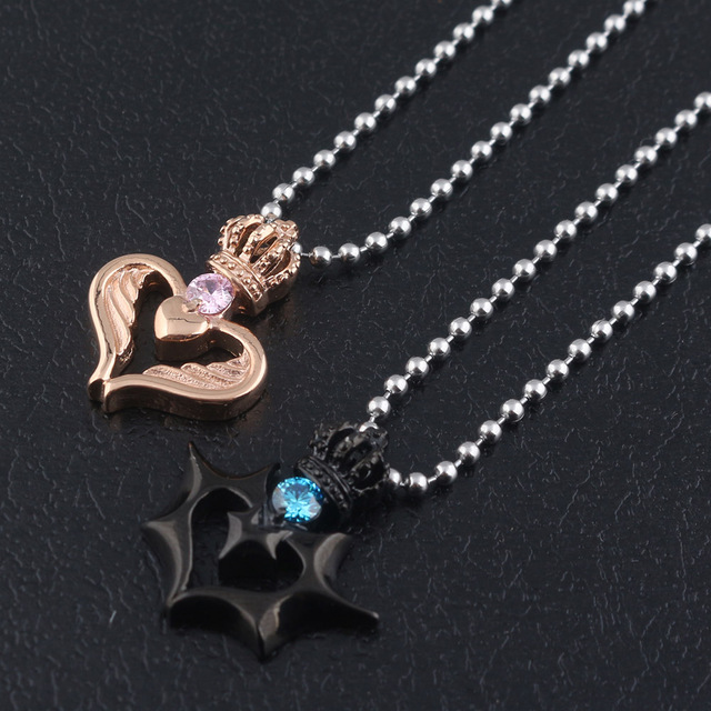 4c05ebc3e7 Fashion Crown necklace Angel Devil Her King His Queen Loving Couple  Necklace crystal pendant Men and Women Jewelry