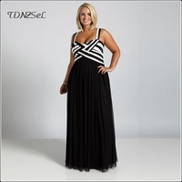 Women Plus Big Size Evening Party Maxi Dress Striped Fit and Flare Elegant Large Robe Formal Low Cut Spaghetti Strap Long Dress