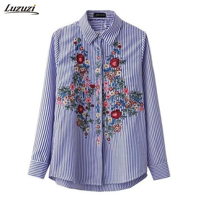 f62da7f71 1 unid Camisa rayas Mujer Blusas de manga larga bordado de La Flor de las  mujeres