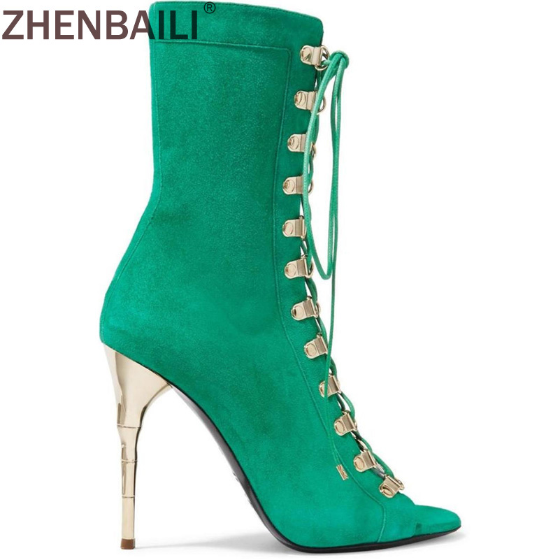 Sexy Summer Peep Toe Super High Heel Sandals Fashion Kid Suede Hollow Cross Lace Up Thin Heel Women Boots Zipper Ankle Boot moraima snc spring summer newest fashion women boots peep toe lace up ankle lace up sexy thin super high heel