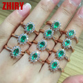 Real Emerald gem ring 925 sterling silver natural gem stone wedding engagement Woman Jewelry anniversary