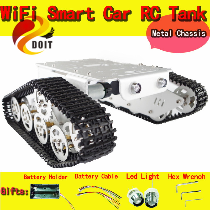 все цены на Official DOIT RC Metal Tank Chassis Wall Caterpillar Tractor Robot Wall-E Crawler Wall Brrow Land Car DIY RC Toy Remote Control онлайн