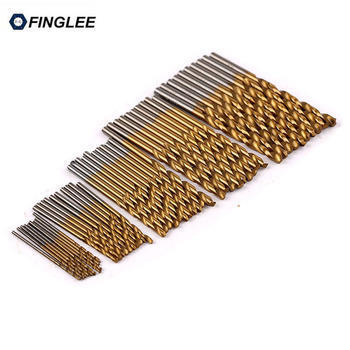 50pcs 100pcs 1 3mm titanium coated twist drill bit high steel for woodworking aluminium alloy angle iron plastic drill bit set 50Pcs/Set,Power Tool Accessory,Titanium Coated Twist Drill Bit Set 1/1.5/2/2.5/3mm High Speed Steel Wood Drilling Metalworking