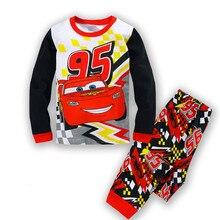 Купить с кэшбэком  Kids Cotton Pajamas Children Sleepwear Baby Pajamas Sets Boys Girls  cartoon long-sleeved car pyjamas cotton nightwear