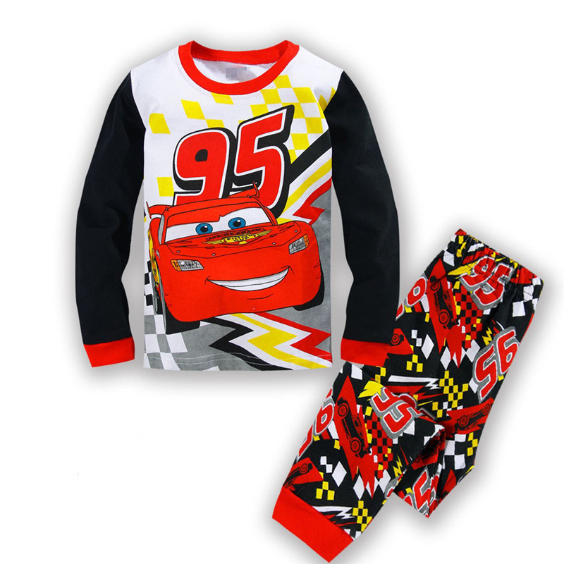 Kids Cotton   Pajamas   Children Sleepwear Baby   Pajamas     Sets   Boys Girls cartoon long-sleeved car pyjamas cotton nightwear