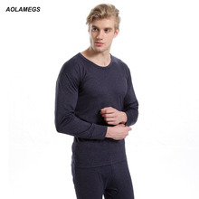 Aolamegs Men thermal underwear o-neck solid color autumn winter mens clothing warm long johns suit hot sale male underwear sets