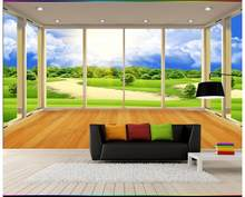 Custom photo wallpaper 3d wall murals wallpaper country grassland scenery TV setting wall balcony window wall papers home decor(China)