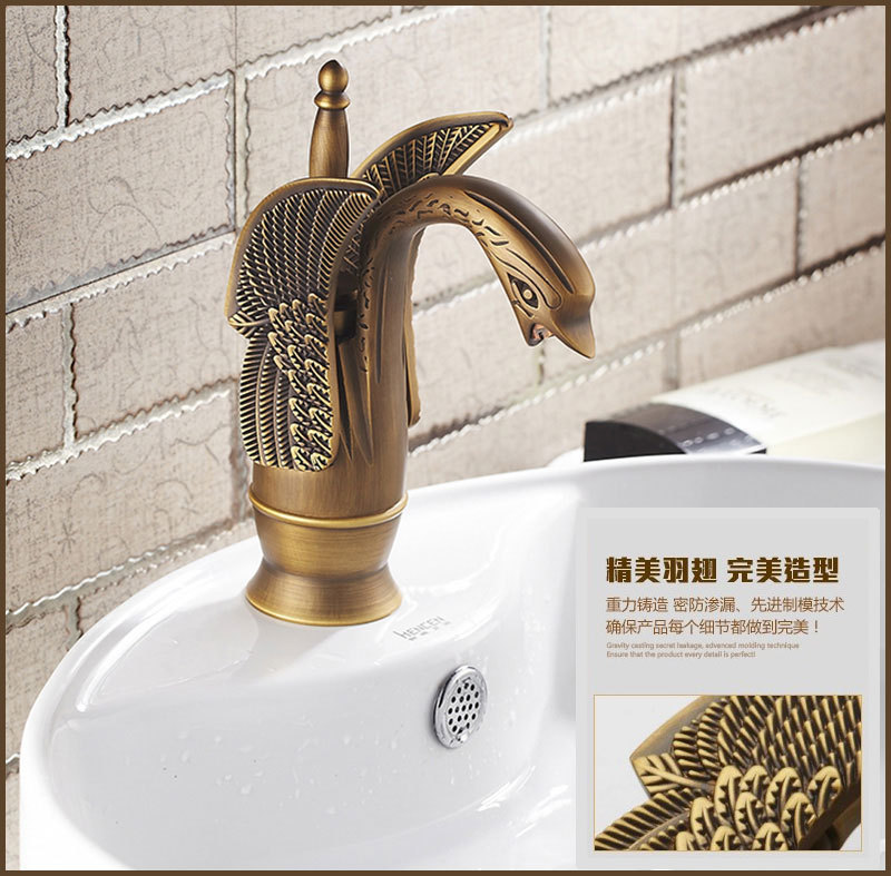 Health sanitary ware Swan antique bathroom basin tap with top ...