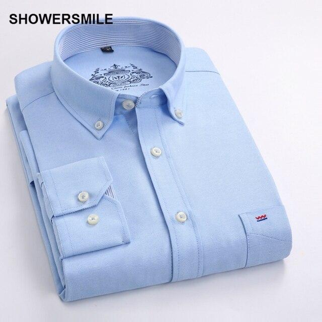SHOWERSMILE Clothing Formal Male Button Down Shirts Autumn Men Shirt Long Sleeves Korean Fashion Slim Fit Mens Dress Shirt White 1