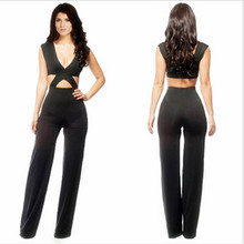 free shipping New Fashion Rompers Womens Jumpsuit Sexy black Playsuit Club Bodysuits Elegant Bandage Jumpsuits S-L