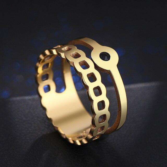 Hibobi кольца из нержавеющей стали женские Уникальные скрученная Форма Круглый Обручальное кольцо Модные ювелирные изделия Подарок на годовщину