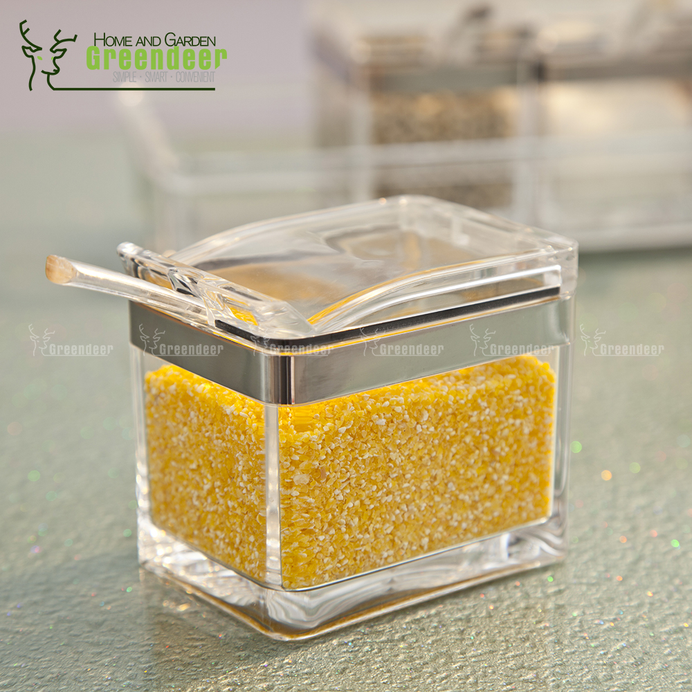 Set of 4 Clear Acrylic Storage Box Spice Container Seasoning Box