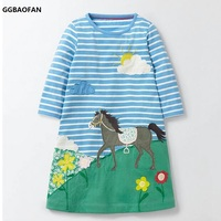 GGBAOFAN Baby Girl Horse Cartoon Printed Cotton Striped Dress For Girls Long Sleeved Lovely Princess Children