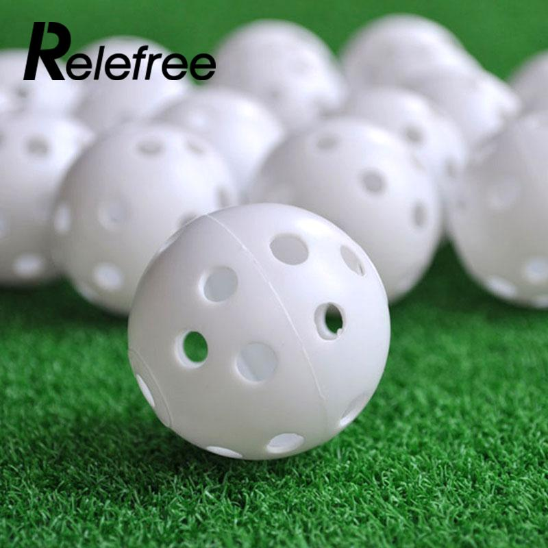 Relefree Hot sale Golf Balls 10Pcs/set Plastic Whiffle Airflow Hollow Golf Practice Training Sports Balls
