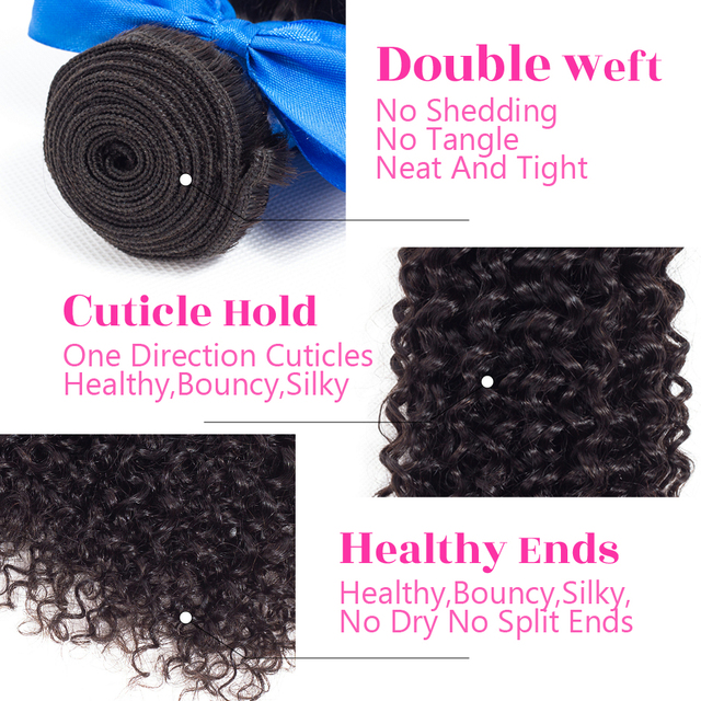 Kinky Curly Hair Human Hair 3 Bundles Indian Hair Extension 8-28 Inch Natural Color Remy Hair