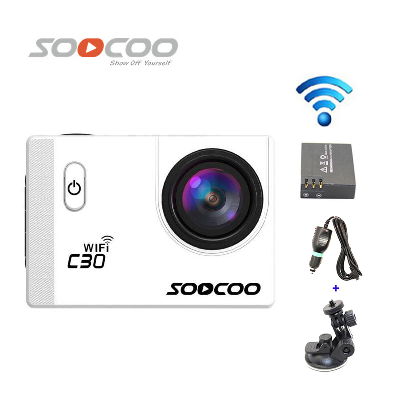 Free Shipping!!SOOCOO C30 Wifi 2K Gyro 2.0 LCD NTK96660 Diving 30M Waterproof Sport Camera+Extra 1pcs battery+Car Charger+Holder стоимость
