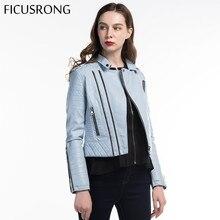 Hot Sale Soft Faux Leather Jackets Lady Motorcyle Zippers Biker Blue Coats Fashion Women Spring Autumn Black Outerwear FICUSRONG