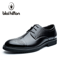 blaibilton 100% Genuine Leather Elegant Formal Dress Men Casual Luxury Brogue Classic Male Office Wedding Designer Oxford SD7110