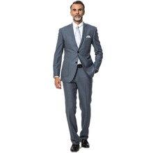 men suit handsome fashion style groom suit two buttons long-sleeve lapel pure color Wool Blend men suit two-piece