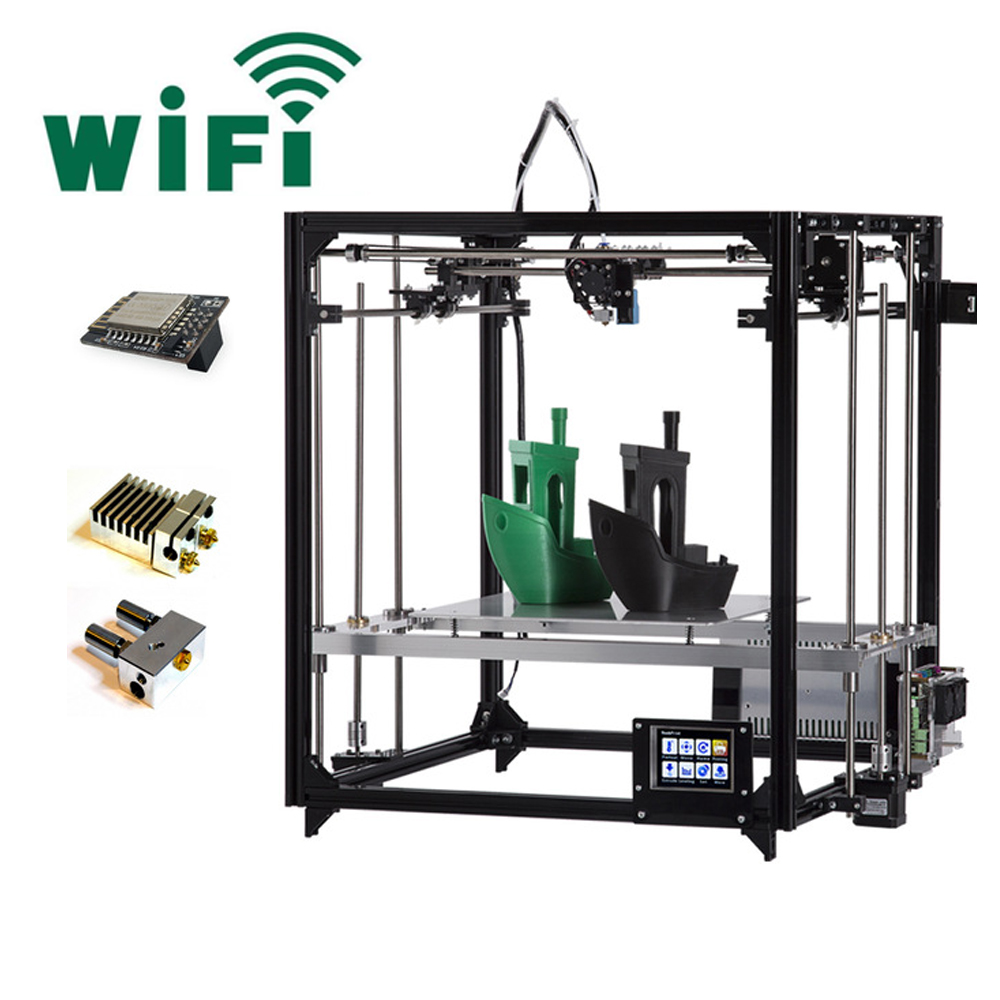2019 Mais Recente Impressora Dupla Extrusora Flsun 3D Grande Área de Impressão 260*260*350 milímetros da Tela de Toque 3D Impressora kit Cama Aquecida Modelo WI-FI