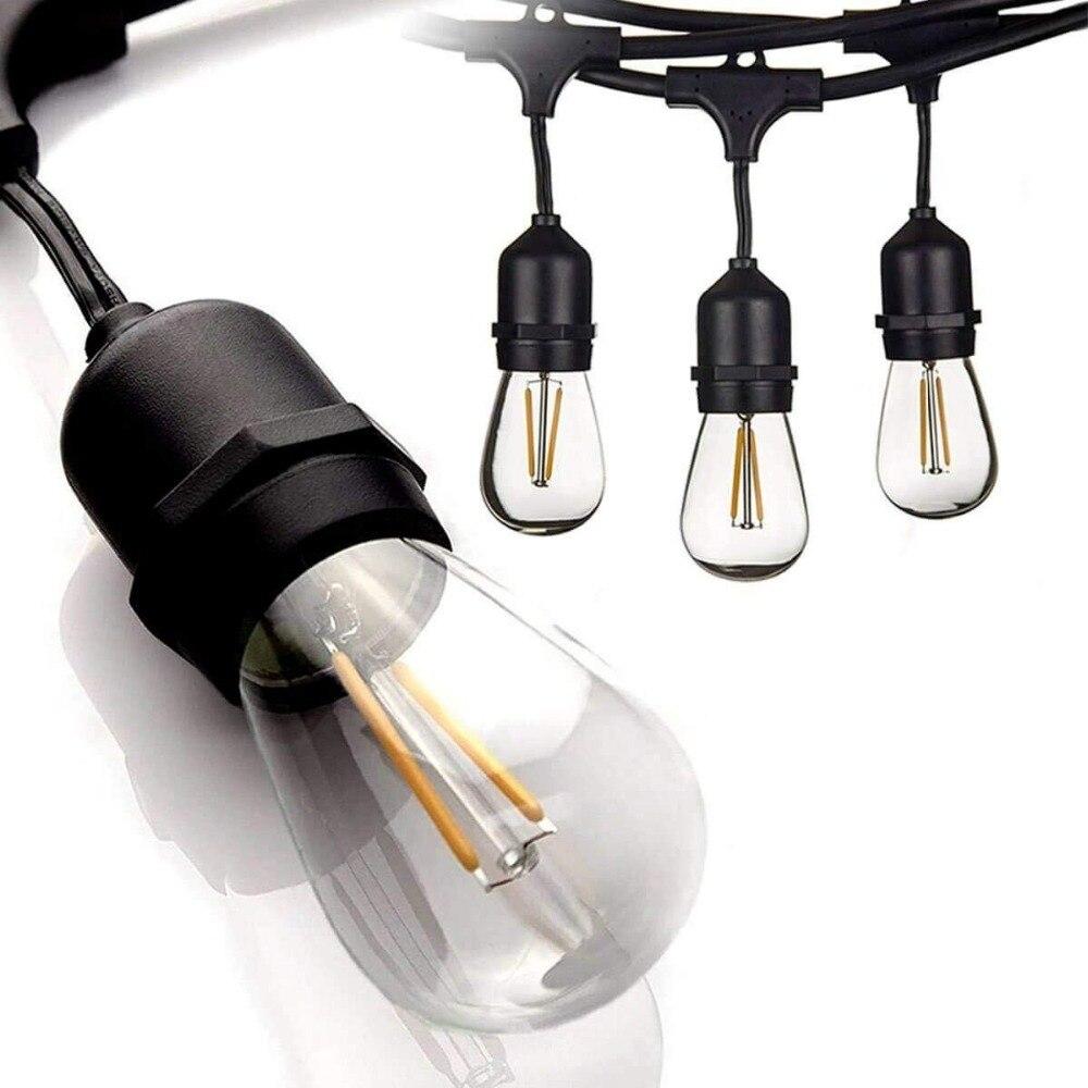 IP65 15 m LED S14 Guirlande Lumineuse Étanche E27 Chaud LED Rétro Edison Filament Ampoule Extérieure Rue Jardin Patio Vacances éclairage